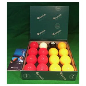Aramith 2_ Reds and yellows pool balls
